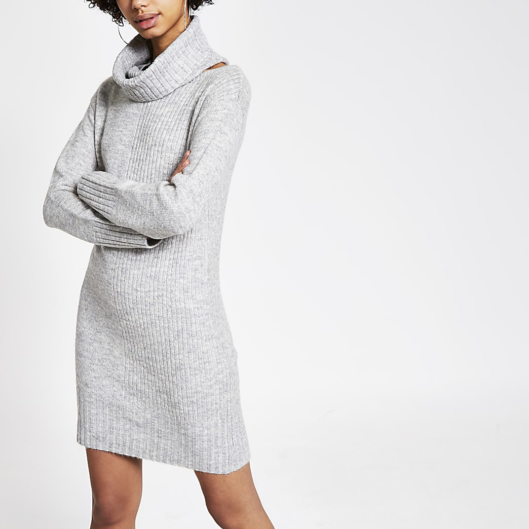 Grey detachable snood knitted dress