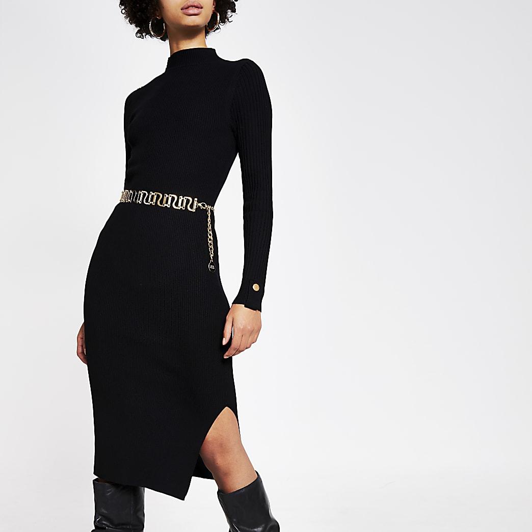 Black button shoulder bodycon ribbed dress