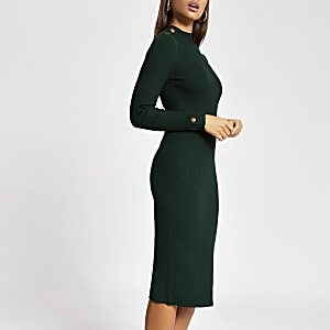 Green button shoulder bodycon ribbed dress