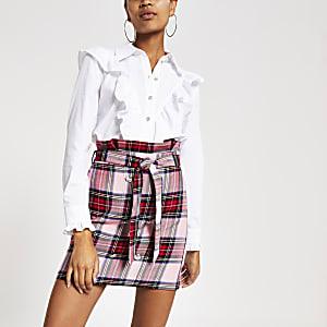 Mini-jupe à carreaux rose à taille haute ceinturée