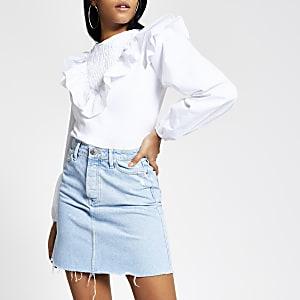 Mini jupe en jean bleu clair