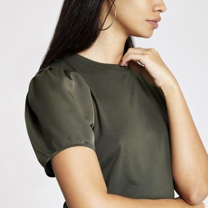 Khaki woven sleeve T-shirt