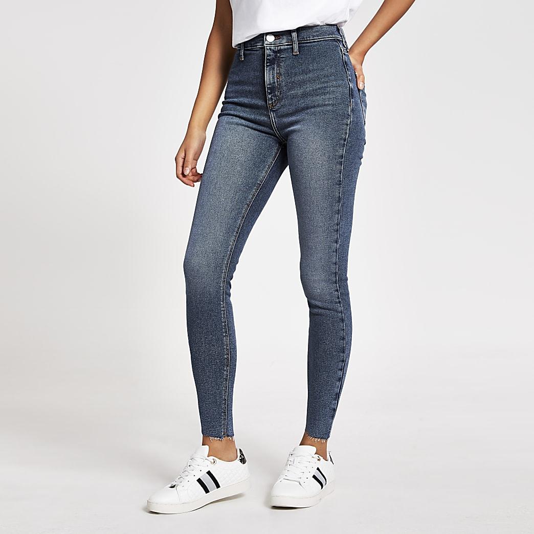 Kaia – Blaue Disco-Jeans mit hohem Bund