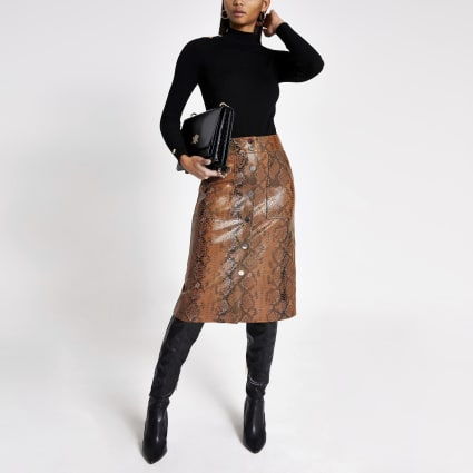 Brown faux leather snake print midi skirt