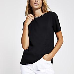Zwart T-shirt met  'Mon amour'-halsprint