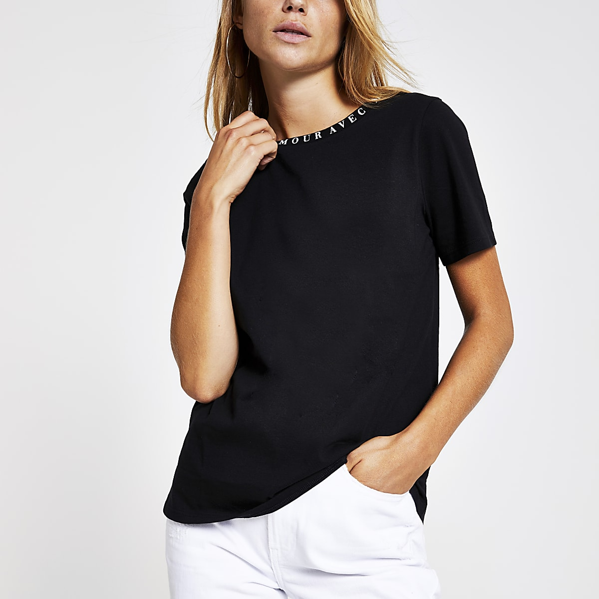 Black 'Mon amour' neck print T-shirt