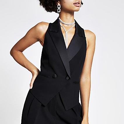 Black satin double breasted waistcoat
