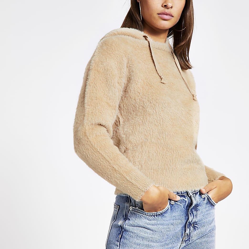 Brown long sleeve fluffy knit hoodie