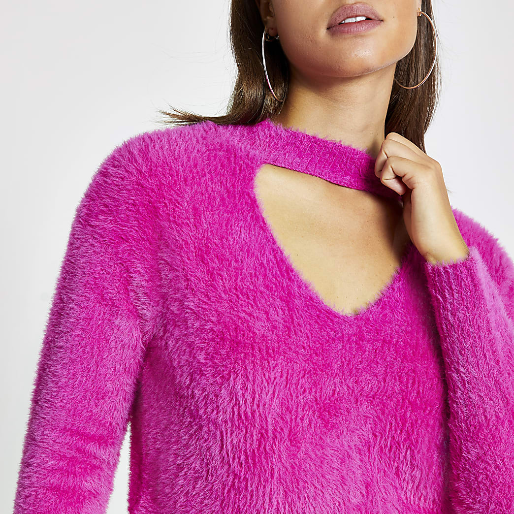 Roze pullover met uitsnede en lange mouwen