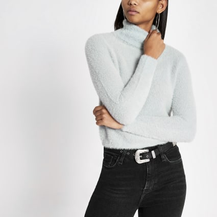 Blue roll neck long sleeve fluffy jumper