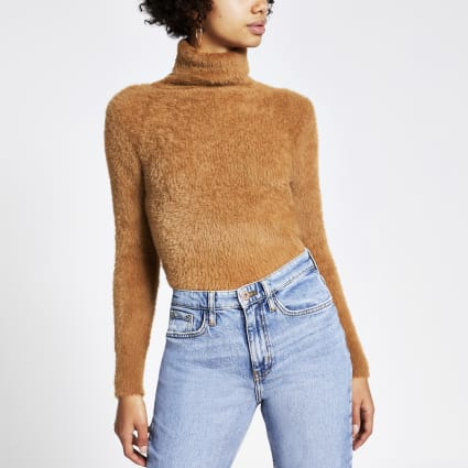 Brown roll neck fluffy cropped jumper