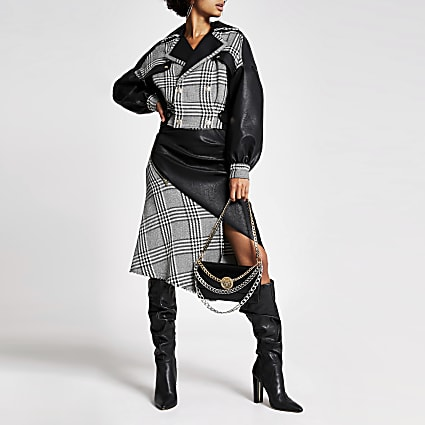 Black houndstooth blocked biker jacket