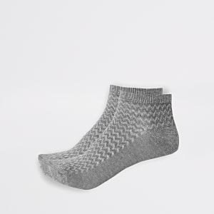 Graue, strukturierte Sneaker-Socken, 2er-Pack