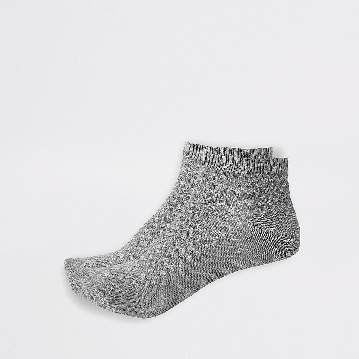 Lot de 2 paires de chaussettes de sport grises texturées