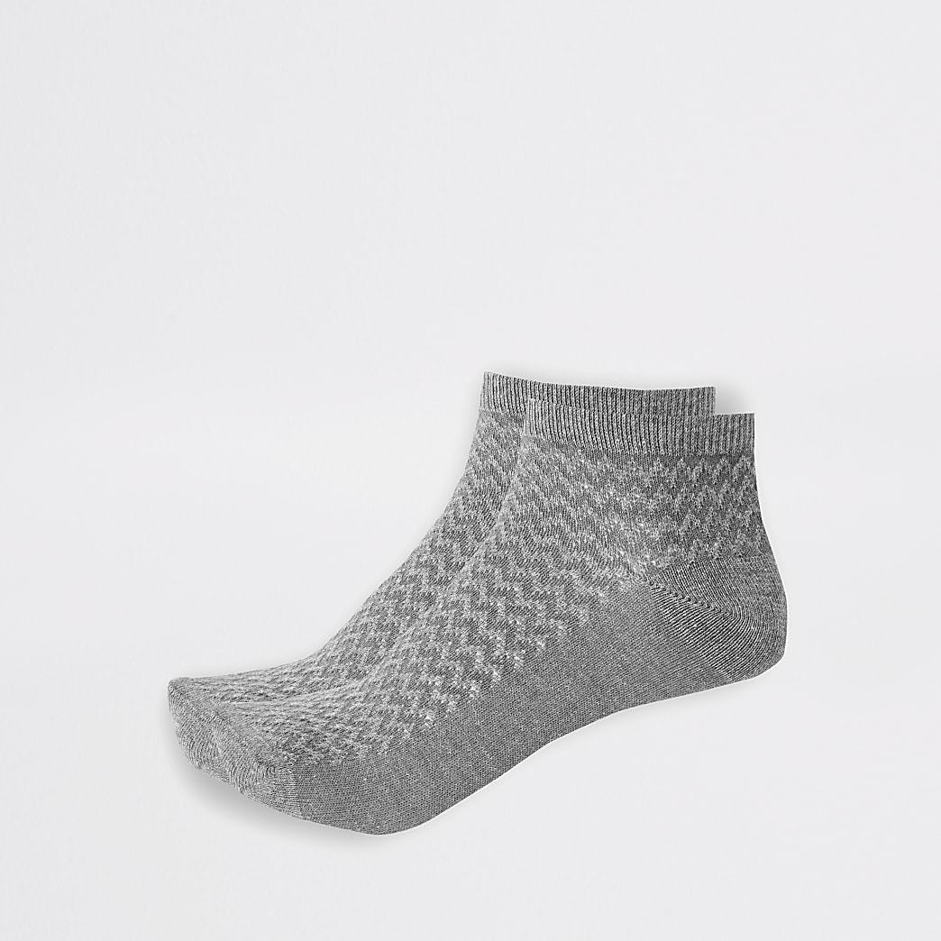 Grey textured trainer socks 2 pack