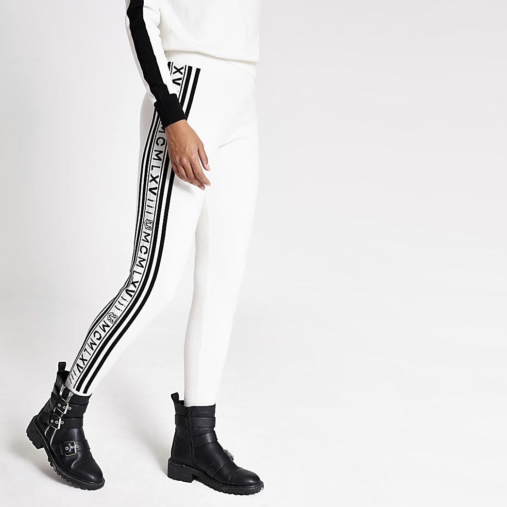 Cream printed side knitted joggers