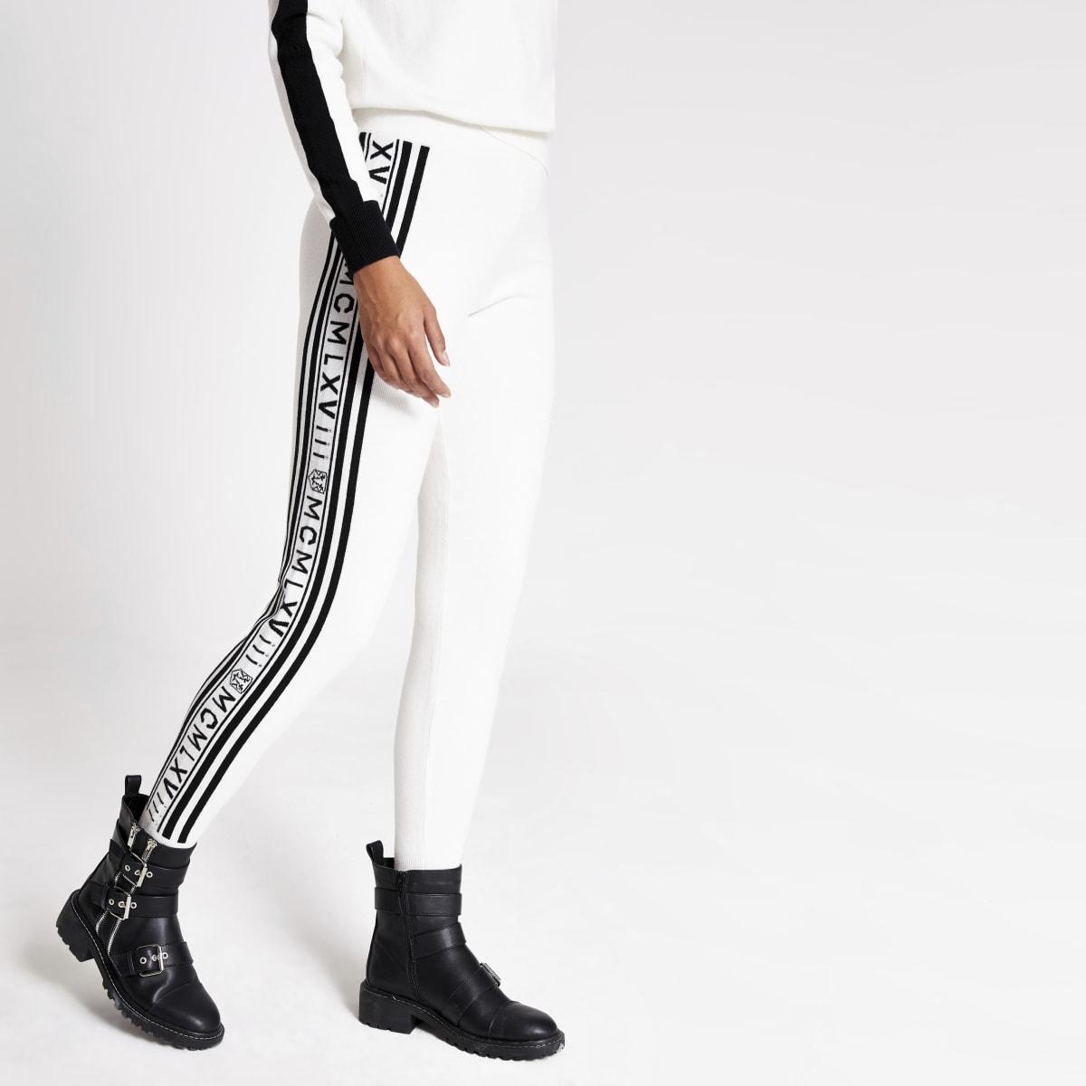 Pantalon de jogging en maille crème avec imprimélatéral