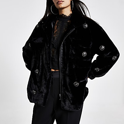 Black faux fur embellished jacket