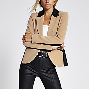 Blazer colour block beige