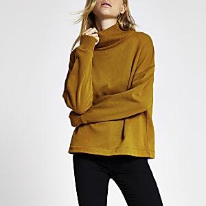 Hochgeschlossenes, geripptes Sweatshirt in Braun