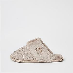 Pink diamante embellished mule slippers