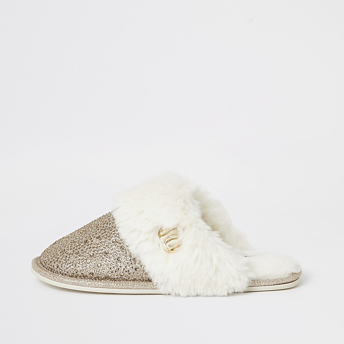 Gold diamante faux fur mule slippers