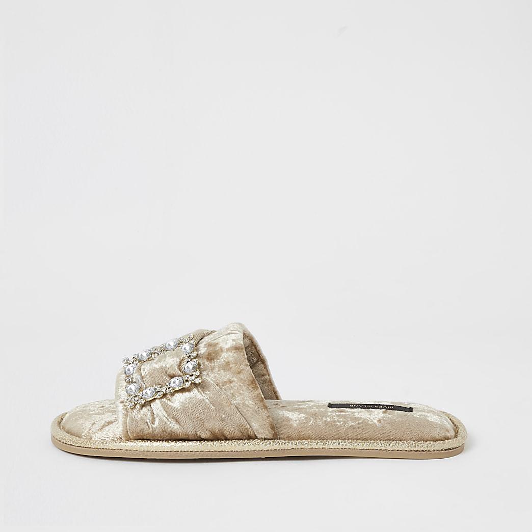 Gold velvet diamante open toe mule slippers