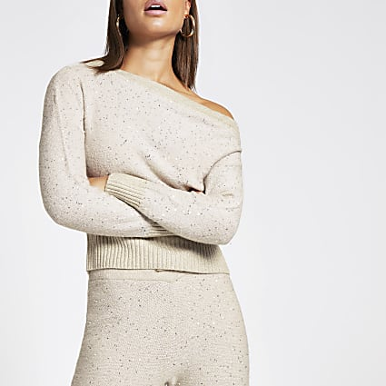 Beige sequin asymmetric neck knitted top