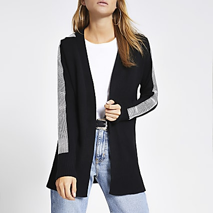 Black diamante embellished knitted cardigan