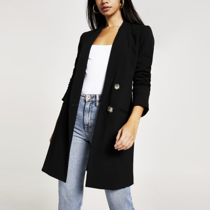 Black double-breasted boyfriend blazer
