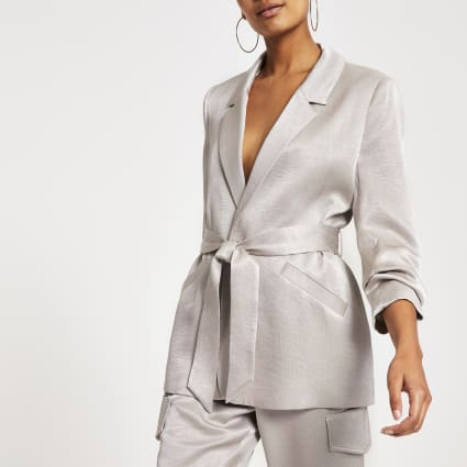 Silver belted ruched sleeve blazer
