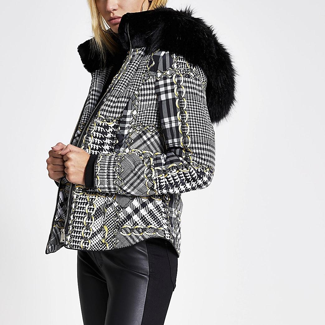 Black printed faux fur hood fitted coat