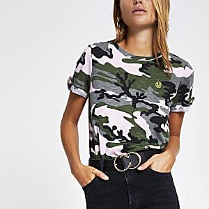 Purple camo print rolled sleeve T-shirt