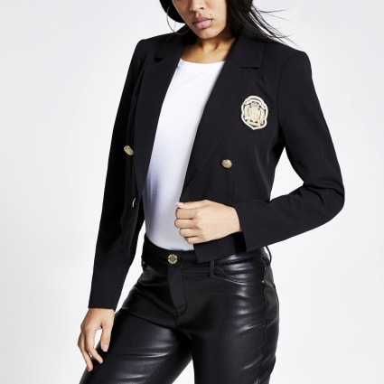 Black badge embellished cropped blazer
