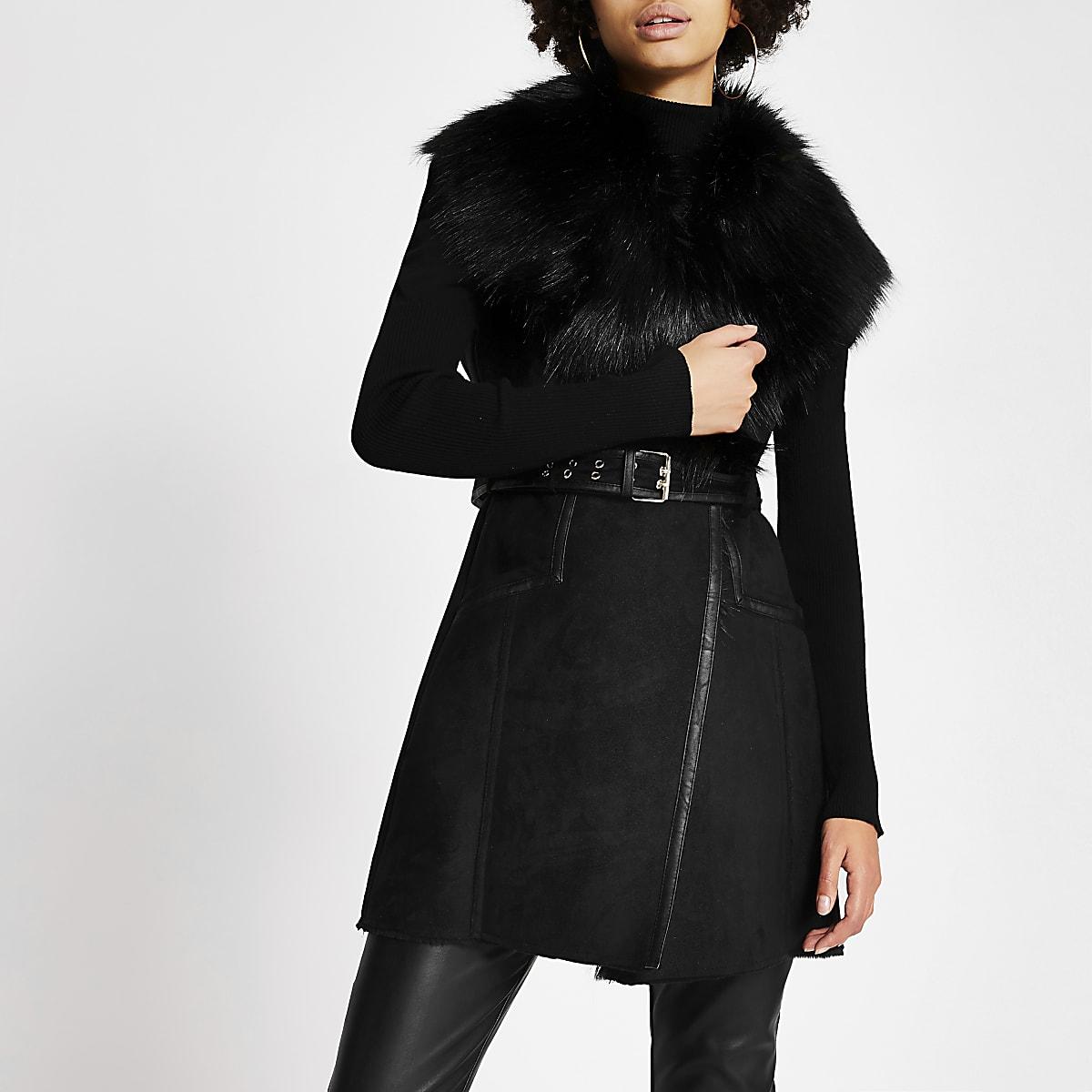 Black suedette faux fur collar belted gilet