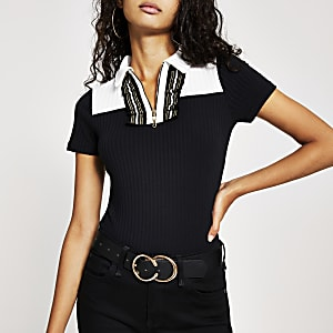 Black short sleeve frill ribbed polo shirt