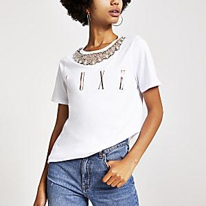 Weißes T-Shirt mit Kragenverzierung