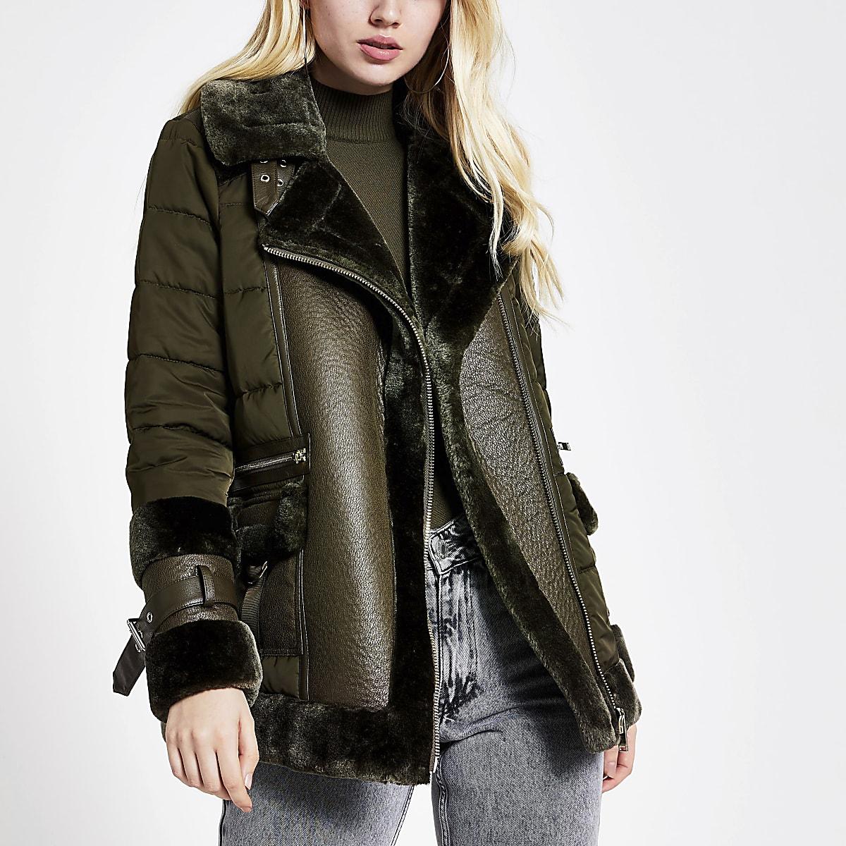 Khaki faux fur trim puffer coat