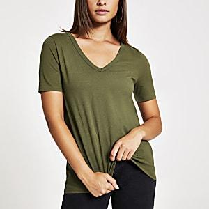 Kaki T-shirt met V-hals en korte mouwen