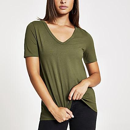 Khaki short sleeve V neck T-shirt