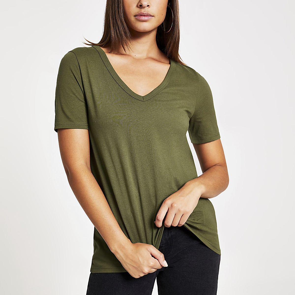 Khaki short sleeve V neck T-shirt