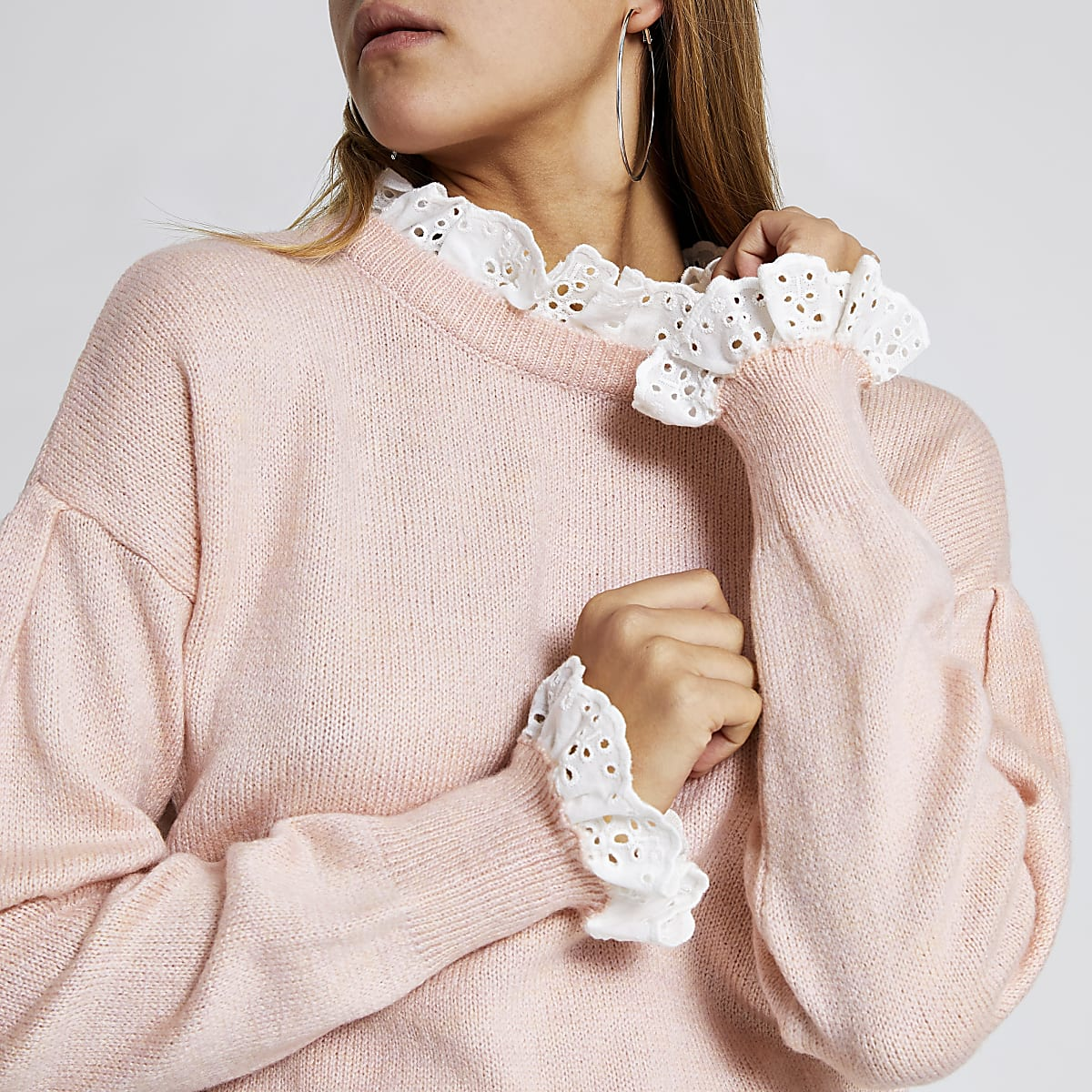 Light pink lace trim crop jumper