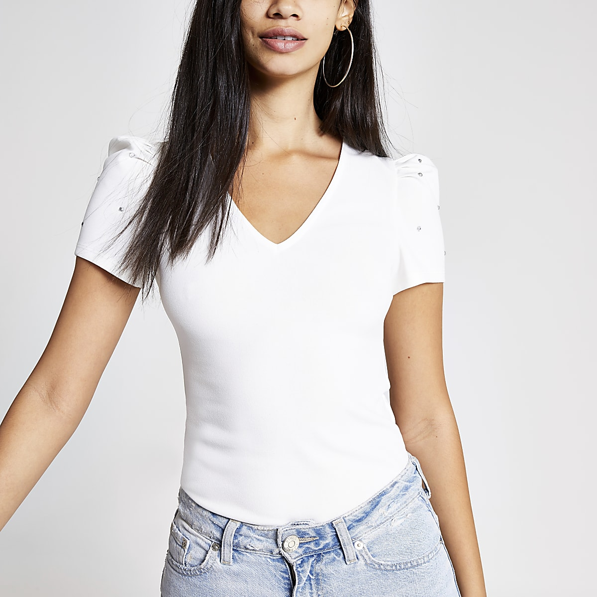 White diamante sleeve top