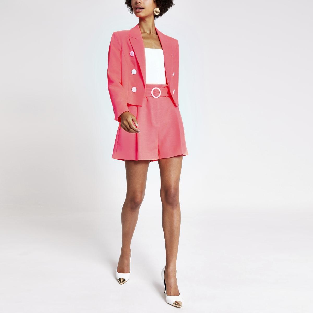 Neon pink cropped blazer
