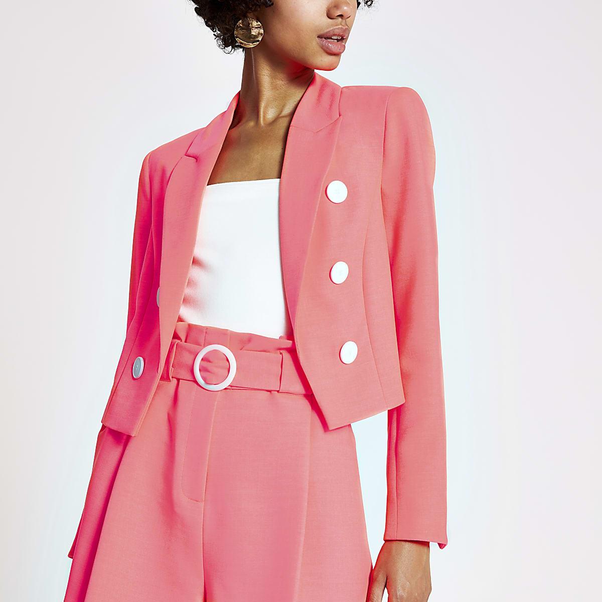 acddd546b7d94 Blazer court rose fluo - Blazers - Manteaux & Vestes - Femme