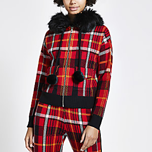 Red tartan check zip front knitted hoodie