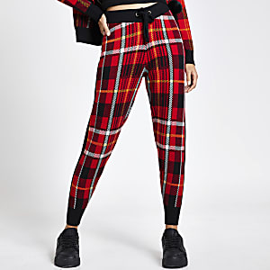 Red tartan check knitted joggers