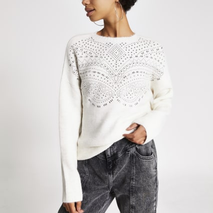 Cream diamante embellished knitted jumper