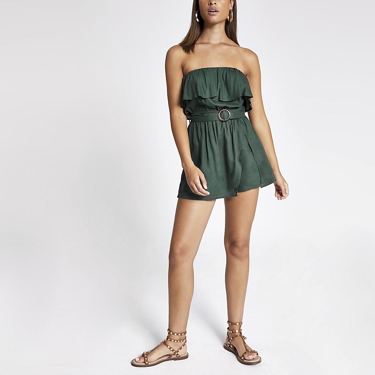 Groene bandeau-strandplaysuit met riem