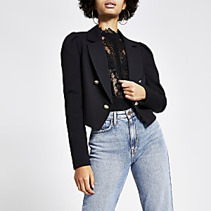Zwarte cropped blazer met pofmouwen
